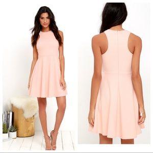 {Lulus} Now or skater peach skater dress